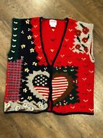 Womens SKYR Wool Sweater Vest Size Large Flag Christmas Ugly Party Needs Buttons