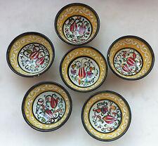 Turkish Ceramic Bowl Set(of 6) Porcelain Art 8cm Embossed Handmade Kutahya -M1