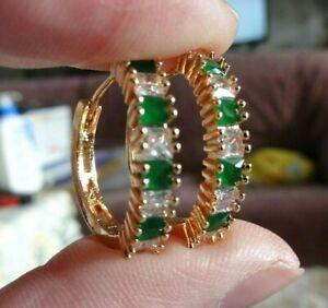 Ohrringe,, Creolen  gelbgold-gefüllt, mit je   Smaragd und weißem Saphir