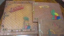 3 Old Photo Scrapbooks~Album~SNAPS Wood Cover Mexico Southwest Leather Ties