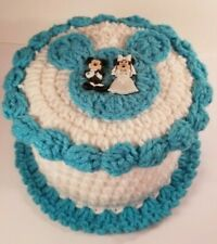 Crochet Disney Mickey & Minnie Mouse Theme Toilet Paper Roll Cover Blue & White