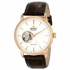 Orient MEN'S Watch Classic ESTEEM Open Heart Quadrante Bianco Cinturino Marrone DB08001W