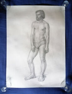 Male study vintage Russian drawing sketch 1960s 1970s nude body bearded man