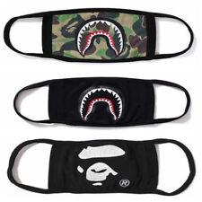 3× Bathing Ape Bape Shark Black Face Mask Camouflage Mouth-muffle Anti Fog New