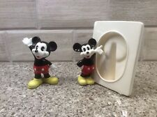 Vintage Walt Disney Porcelain Mickey Mouse Picture Frame and Waving Figurine