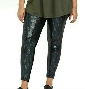 NWT Torrid Black Stretch Leggings with Iridescent Sequins Size Torrid 2 (2X)
