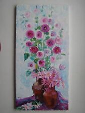 ORIGINAL OIL STRETCHED PAINTING HOLLYHOCKS FLOWERS ART BY ARTIST