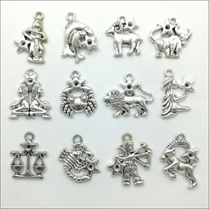 50pcs Twelve constellations Antique Silver Charms Pendants Jewelry Making DIY