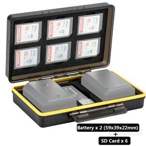 JJC 2 Camera Battery & 6 SD Cards Storage Case Holder for Canon Fujifilm Sony