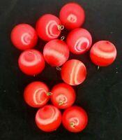 """Lot 12 Red Satin Styrofoam Ball  Xmas Ornaments 2 1/2"""" Across"""