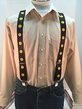 "New, Men's, Smiley Face, XL, 1.5"", Adj.  Suspenders / Braces,  Made in the USA"