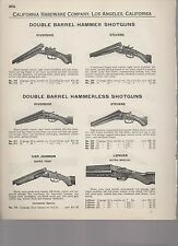 1927 catalog pages vintage DOUBLE BARREL SHOTGUN Hunter Arms Stevens LC Smith +