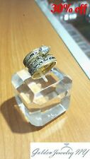 14k Solid Yellow Italian Gold Trio Wedding Band Bridal Solitaire Engagement Ring