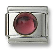 Authentic 18k Italian Charm Genuine Amethyst Stone Round 9mm Link Fit Bracelet