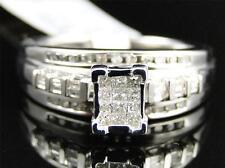 Womens White Gold Finish Princess Cut Diamond Bridal Engagement Wedding Ring .36