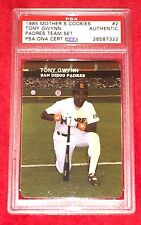 Tony Gwynn San Diego Padres Signed Autograph 1985 Mothers Cookie PSA/DNA Slabbed