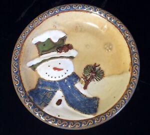 """St, Nicholas Square """"Forest Friends"""" 6.75"""" Appetizer Dessert Plate Snowman Blue"""