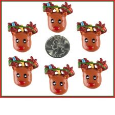6 PC CHRISTMAS REINDEER WITH LIGHTS FLATBACK FLAT BLACK RESINS