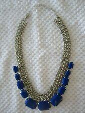 "Silver Tone Chain Choker Chunky Blue Glass Rectangle Stones 7"" Drop Nice!"