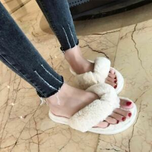 Women Winter Fashion Home Slippers Faux Fur Warm Shoes Slip on Flats Fur Flip Fl