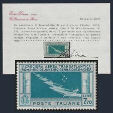 1930 Italia Regno Posta Aerea Crociera Transatlantica Balbo 7,70 Certificato MNH