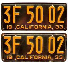 California 1933 License Plate Pair, 3F 50 02, DMV Clear, Original Paint, Nice!