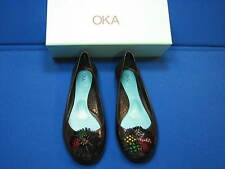 9 Okab Black Rubber Ladies Shoes Womens BIRDIE USA Ballet Flats Okabashi Jelly 9