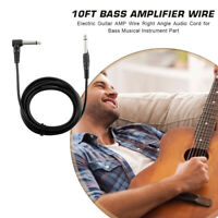 Guitar Amplifier Cable 10ft Bass Right Angle Stereo Audio AMP Cord Wire Musical