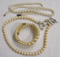 Vintage Jewelry Faux Pearl LOT Bracelet and Two Necklace 1950s