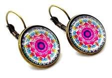 Pink Mandala Blume Ohrringe Creole Bronze Marokkanisch Boho Verpackt