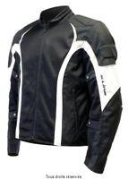 Blouson Moto Homme Noir/blanc Tissu Eté S-Line
