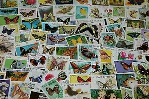 BULK LOT BUTTERFLYS THEMED STAMPS X 50  GOOD MIX FREE POSTAGE IN OZ