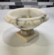 Vintage Hand Carved Italian Alabaster Pedestal Bird Bath Tabletop Decoration