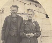 Antique Black & White Photograph Older Couple Early 1900's
