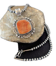 Native American Sterling Silver Navajo Pearls Orange Spiny Oyster Pendant 776