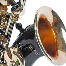Karl Glaser Sopran Saxophon gebogen, Schwarz Gold + Koffer Mundstück Blättchen