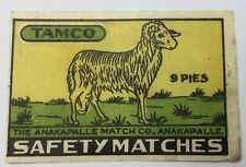 """INDIA ANTIQUE/ VINTAGE MATCHBOX LABEL """"TAMCO"""""""