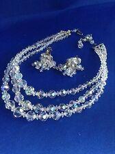 Fantastic Vintage Crystal Triple Strand Necklace And Dangle Earrings Set