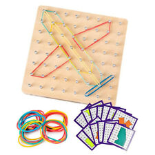 Montessori Wooden Geoboard pin board & Elastic Band Mathematics Educational Toys