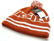 Quiksilver Men's Pom Beanie Knit Hat Rust Orange & White Ski Snowboard New! NWT