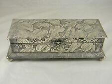 Art Nouveau Style Silverplate Jewelry Trinket Keepsake Dresser Box