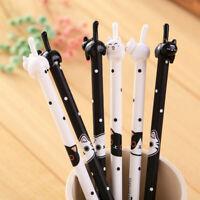 2Pcs Cute Kawaii Cat Black Gel Ink Roller Ball Point Pen Korean School Kids Pens
