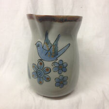 EL PALOMAR TONALA BLUE KEN EDWARDS KE PITCHER 22 OZ BLUE BIRD BUGS FLOWERS