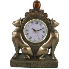 Tischuhr ÄGYPTISCHE KATZEN Uhr Kaminuhr Polystein Farbe BRONZE 23 cm