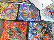 Large Square Ceramic hanging plate - Hand painted - Gorgeous Designs Turkish