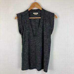 Isabel Marant Womens Top Size M Medium Grey Short Sleeve V-Neck
