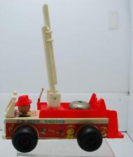 """VINTAGE 1968 FISHER PRICE FIRE ENGINE #1 MODEL NO. 720 PLASTIC WOOD TOY 7 1/2"""""""