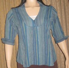 Company One Woman Size 1X Multi Colored Striped Tunic Top W/ 3/4 Length Sleeves