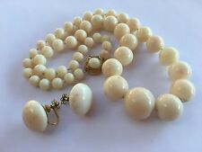 Old Chinese 18k Gold Angel Skin Coral Beads GRADUATED Necklace & Earrings Set