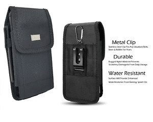 For ZTE Axon M , Tactical Holster Rugged Black Nylon Pouch Waist Metal Clip Case